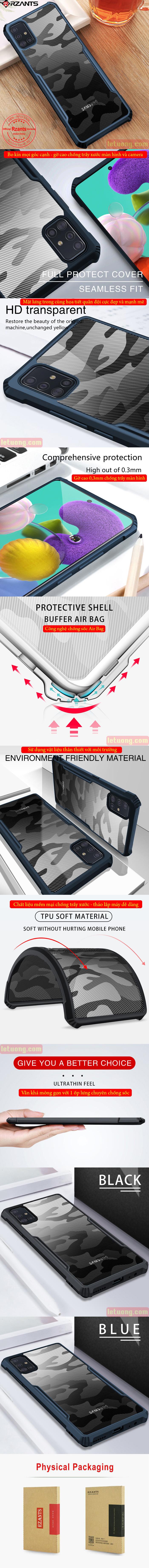 Ốp lưng Galaxy A51 Rzants Armor Camo trong suốt - họa tiết quân đội 1