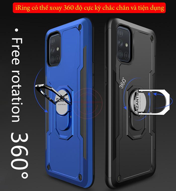 Ốp lưng Galaxy A51 Rzants Hybrid Armor iRing Car khung kép chắc chắn 2