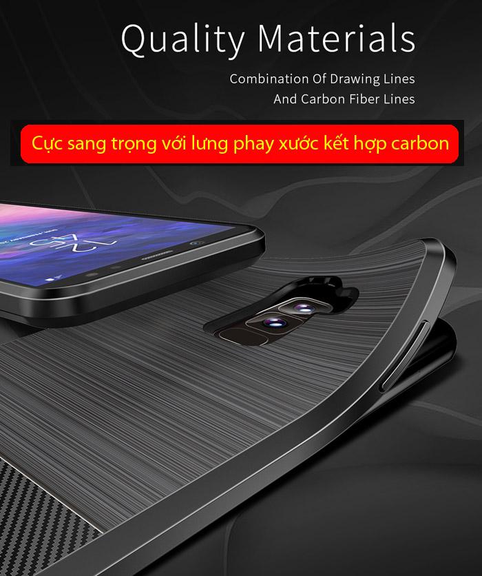 Ốp lưng Galaxy A6 Plus 2018 Dux Ducis Mojo Carbon Fiber nhựa mềm 1