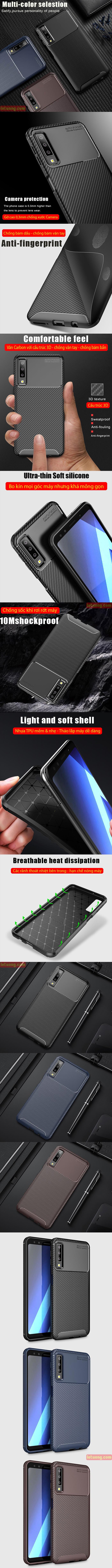 Ốp lưng Galaxy A7 2018 LT Carbon Fiber nhựa mềm chống vân tay 1