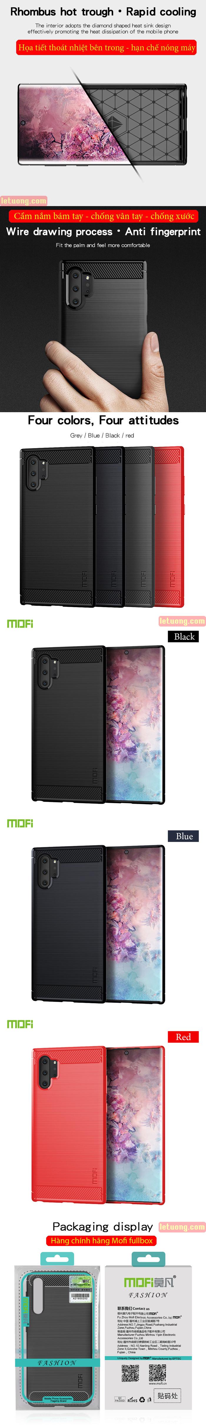 Ốp lưng Note 10 Plus Mofi Shen Du Carbon Fiber nhựa mềm - chống vân tay 7