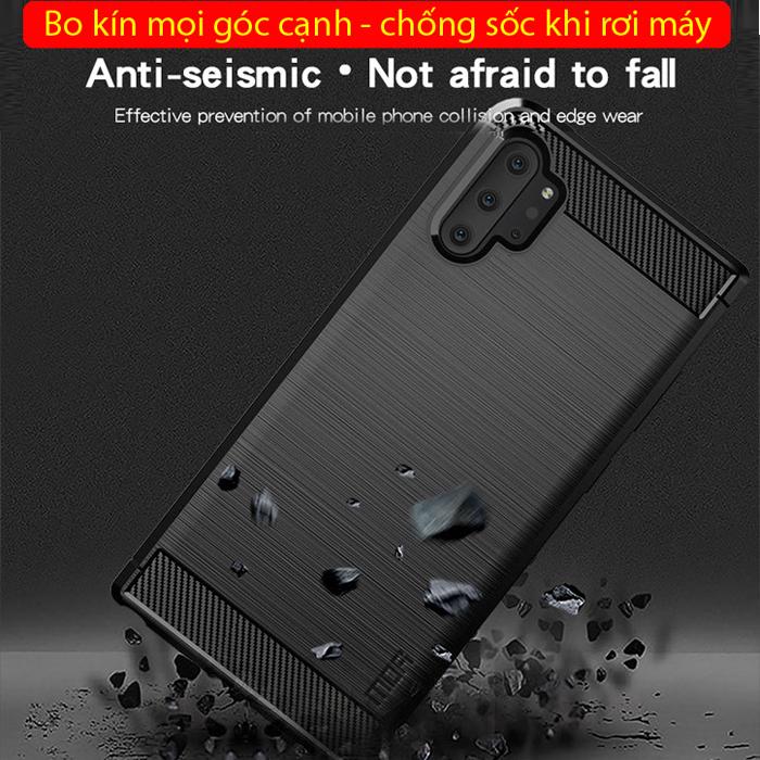 Ốp lưng Note 10 Plus Mofi Shen Du Carbon Fiber nhựa mềm - chống vân tay 4
