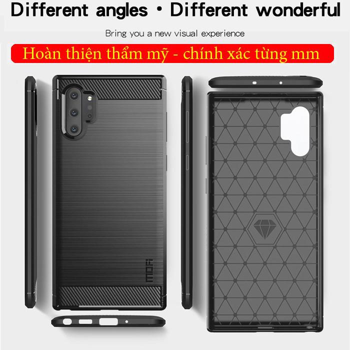 Ốp lưng Note 10 Plus Mofi Shen Du Carbon Fiber nhựa mềm - chống vân tay 5