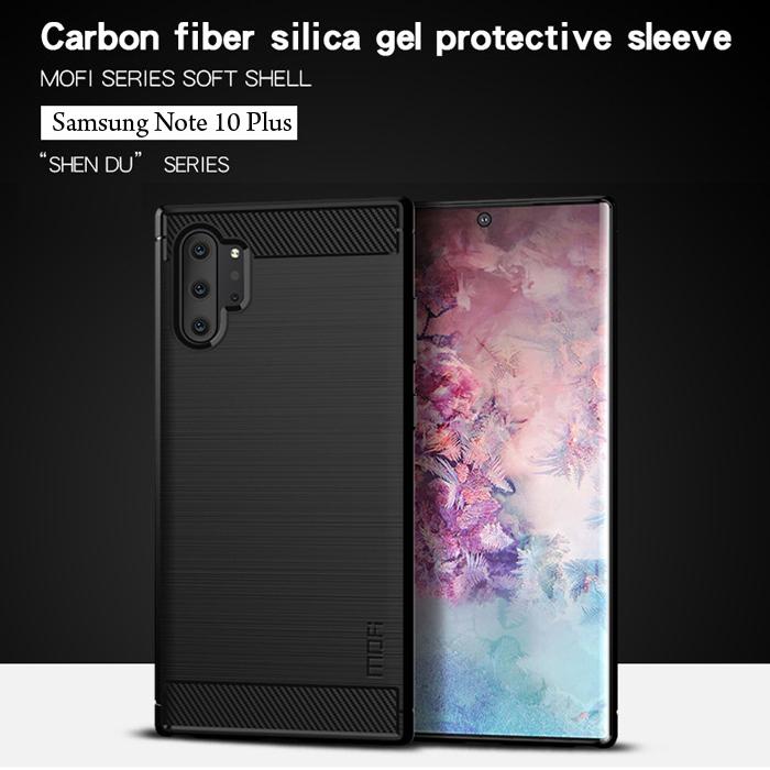 Ốp lưng Note 10 Plus Mofi Shen Du Carbon Fiber nhựa mềm - chống vân tay 6