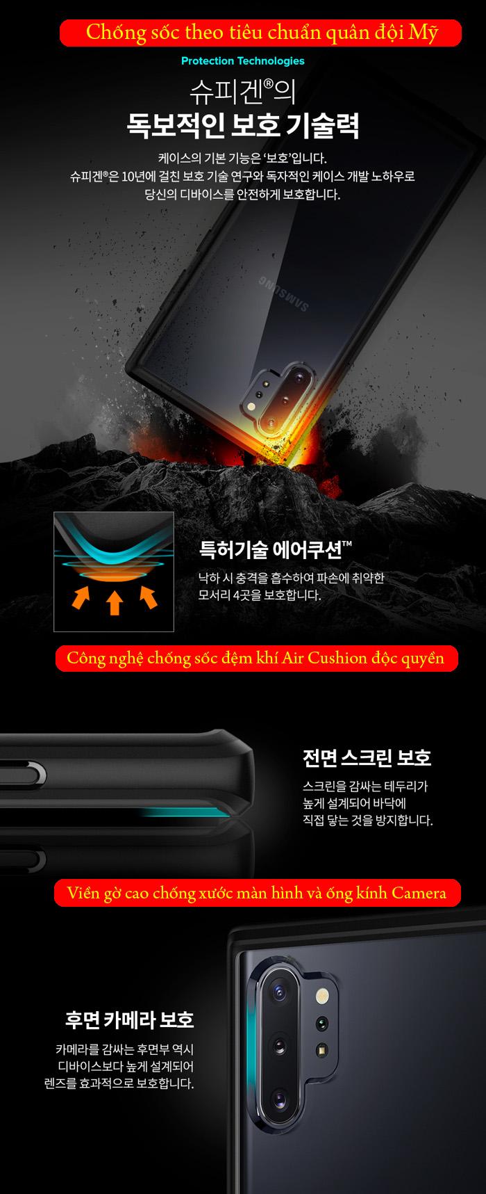 Ốp lưng Galaxy Note 10 Plus Spigen Ultra Hybrid trong suốt ( Hàng USA ) 4