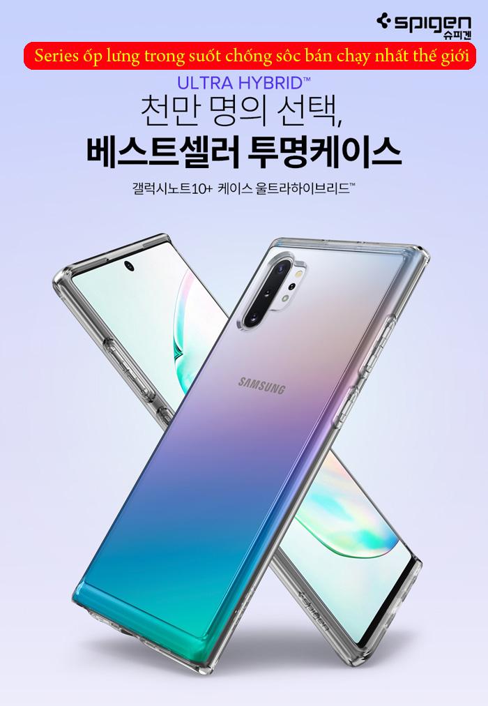 Ốp lưng Galaxy Note 10 Plus Spigen Ultra Hybrid trong suốt ( Hàng USA ) 7