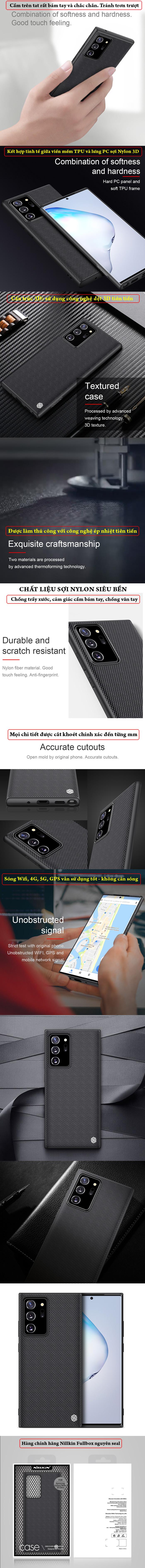 Ốp lưng Note 20 Ultra / 5G  Nillkin Texture 3D Case sợi Nylon siêu mỏng 5