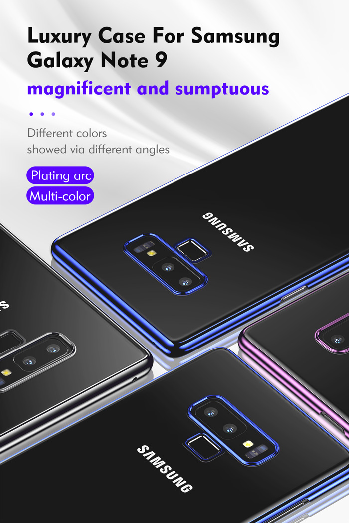 Ốp lưng Note 9 Benks Magic Pure Plating Case trong suốt, viền ma Crom 1