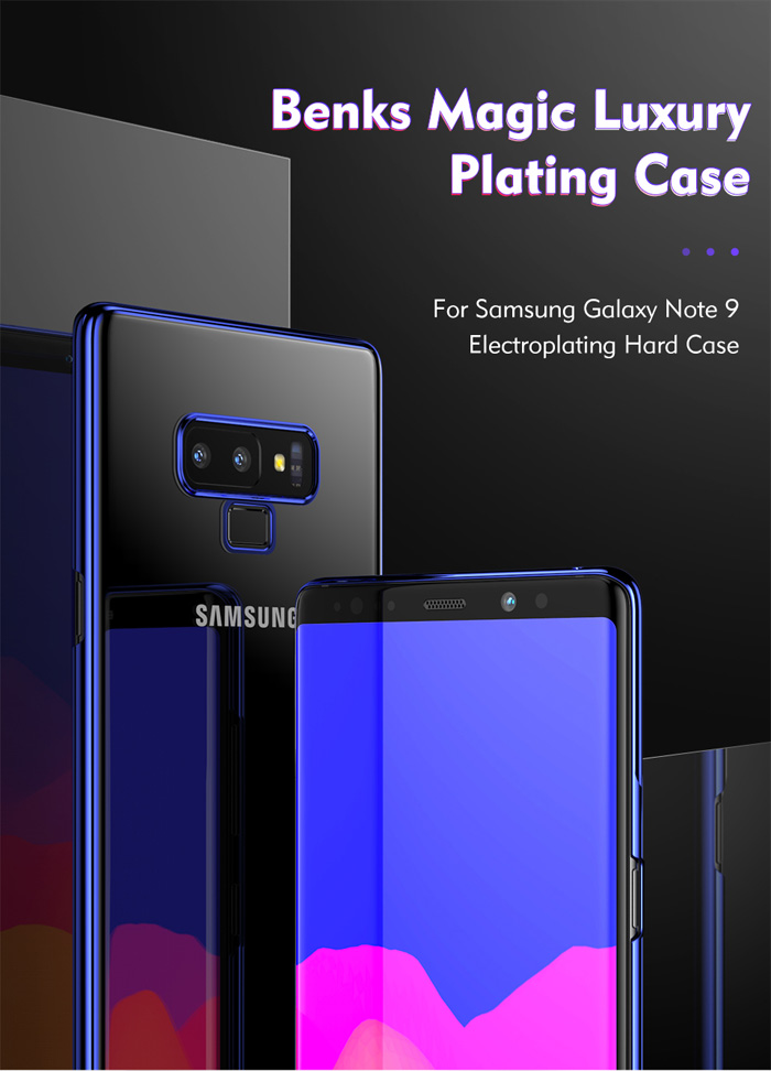 Ốp lưng Note 9 Benks Magic Pure Plating Case trong suốt, viền ma Crom 3