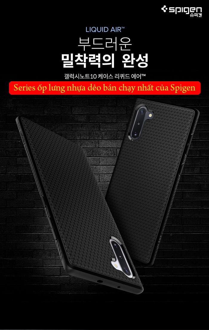 Ốp lưng Galaxy Note 10 Spigen Liquid Air chống trơn tuột ( hàng USA ) 1