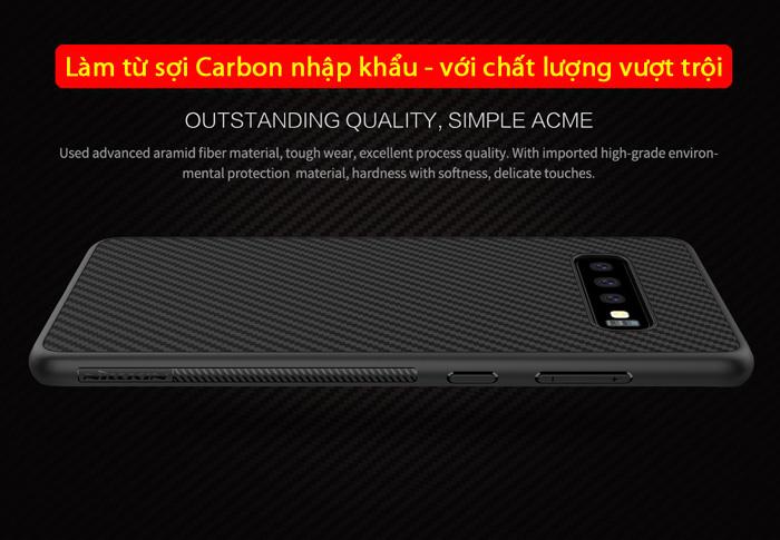 Ốp lưng Galaxy S10 Nillkin Fiber sợi Carbon siêu bền, chống vân tay 2
