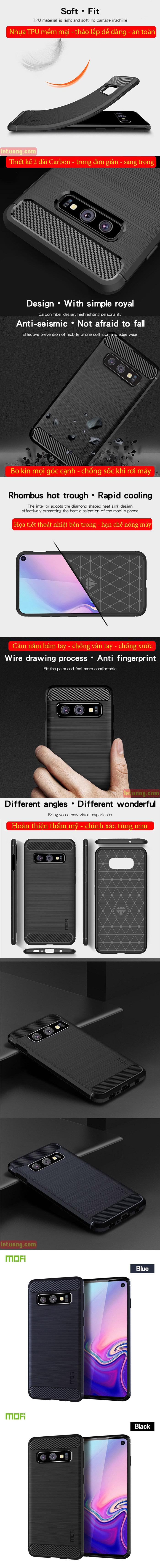 Ốp lưng Galaxy S10E Mofi Shen Du Carbon nhựa mềm - chống vân tay 6