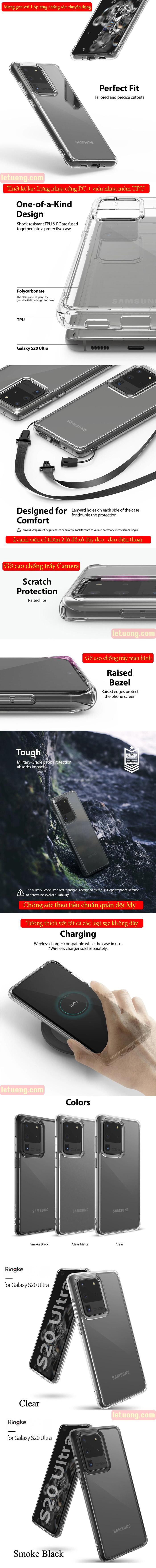 Ốp lưng Galaxy S20 Ultra Ringke Fusion trong suốt + viền mềm ( USA ) 6