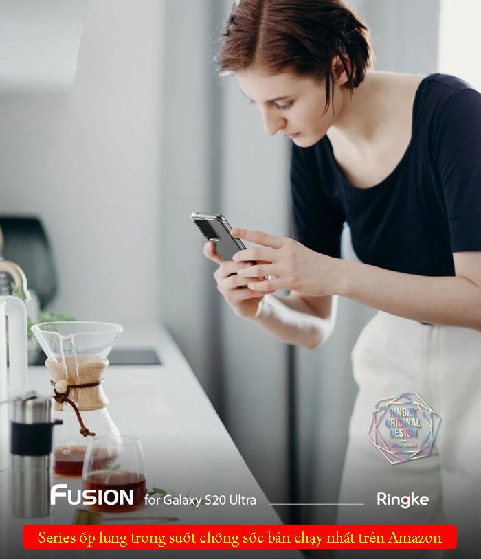 Ốp lưng Galaxy S20 Ultra Ringke Fusion trong suốt + viền mềm ( USA ) 4