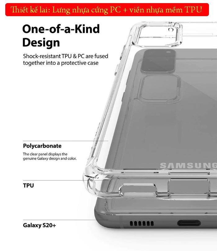 Ốp lưng Galaxy S20 Plus Ringke Fusion trong suốt + viền mềm ( USA ) 3