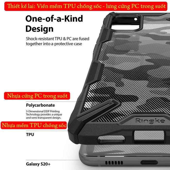 Ốp lưng Galaxy S20 Plus Ringke Fusion X Camo chống sốc - họa tiết quân đội ( từ USA ) 1
