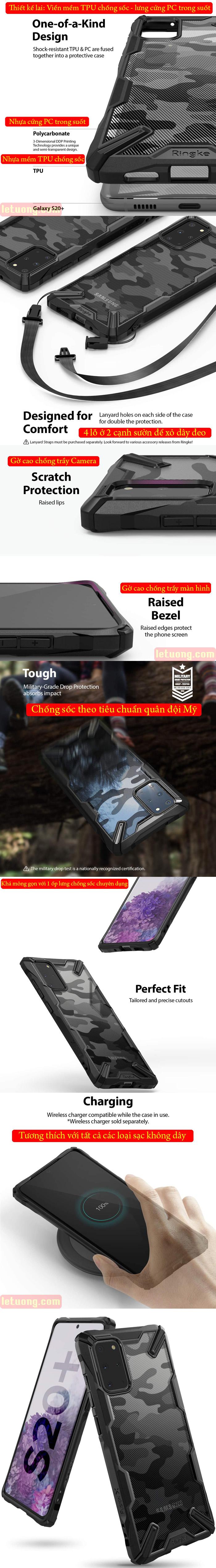 Ốp lưng Galaxy S20 Plus Ringke Fusion X Camo chống sốc - họa tiết quân đội ( từ USA ) 4