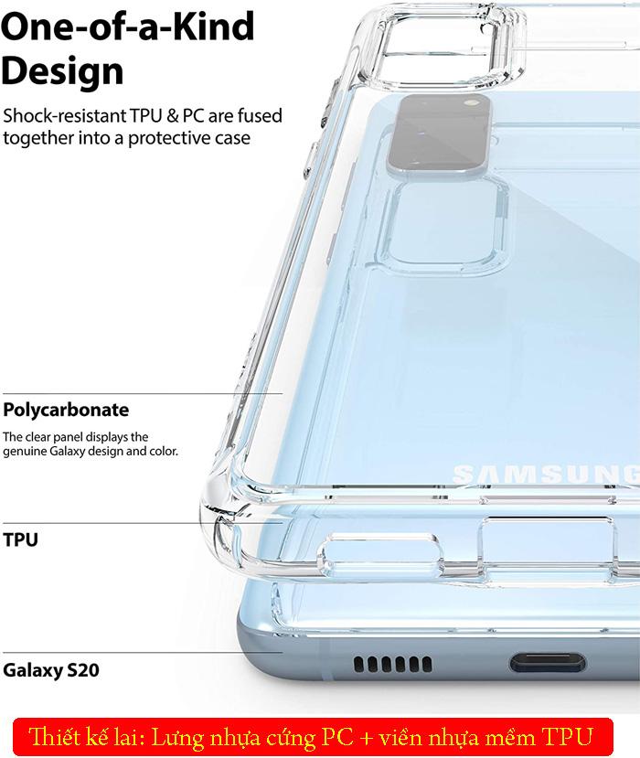 Ốp lưng Galaxy S20 Ringke Fusion trong suốt + viền mềm ( USA ) 4