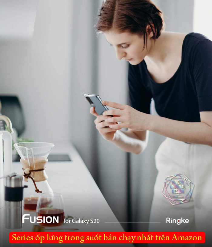 Ốp lưng Galaxy S20 Ringke Fusion trong suốt + viền mềm ( USA ) 5