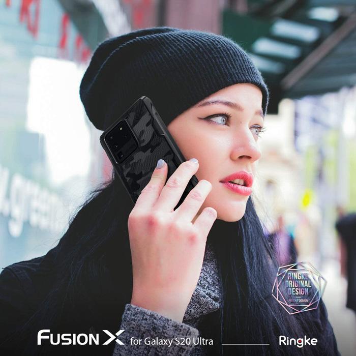 Ốp lưng Galaxy S20 Ultra Ringke Fusion X Camo chống sốc quân đội ( từ USA ) 3