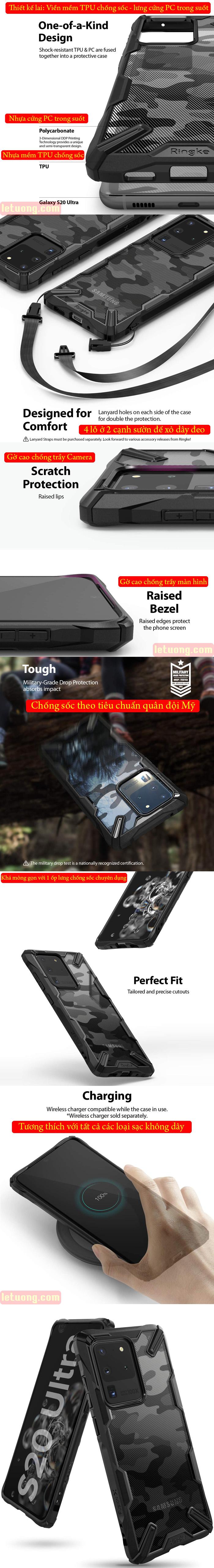 Ốp lưng Galaxy S20 Ultra Ringke Fusion X Camo chống sốc quân đội ( từ USA ) 4