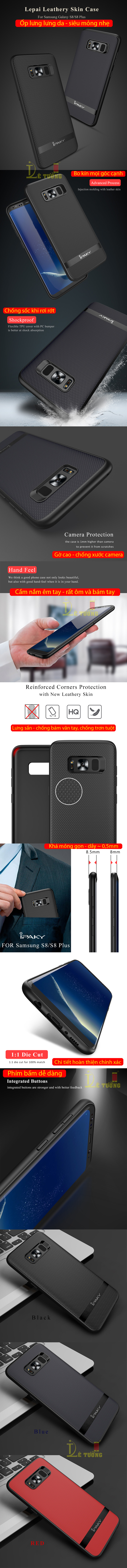 Ốp lưng Galaxy S8 Plus Ipaky Leather Skin Case chống vân tay 4