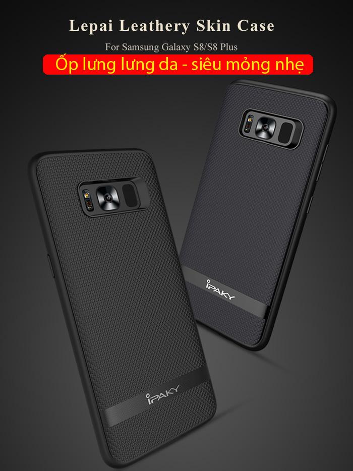 Ốp lưng Galaxy S8 Plus Ipaky Leather Skin Case chống vân tay 1