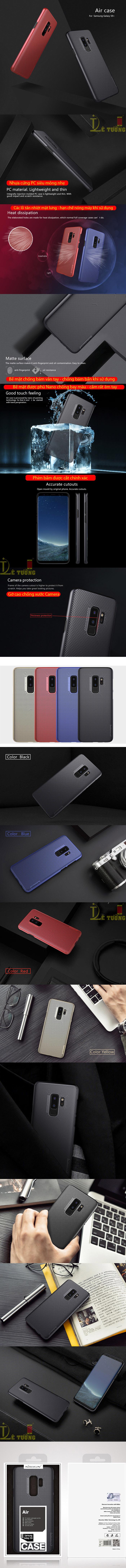 Ốp lưng Galaxy S9 Plus Nillkin Air Case tản nhiệt siêu mỏng 9