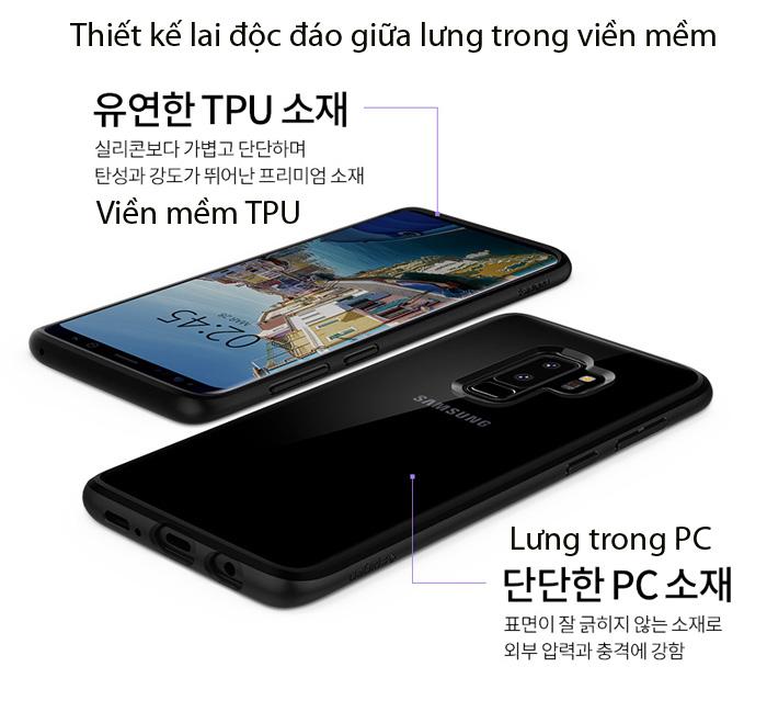 Ốp lưng Galaxy S9 Plus Spigen Ultra Hybrid lưng trong viền mềm từ USA 1