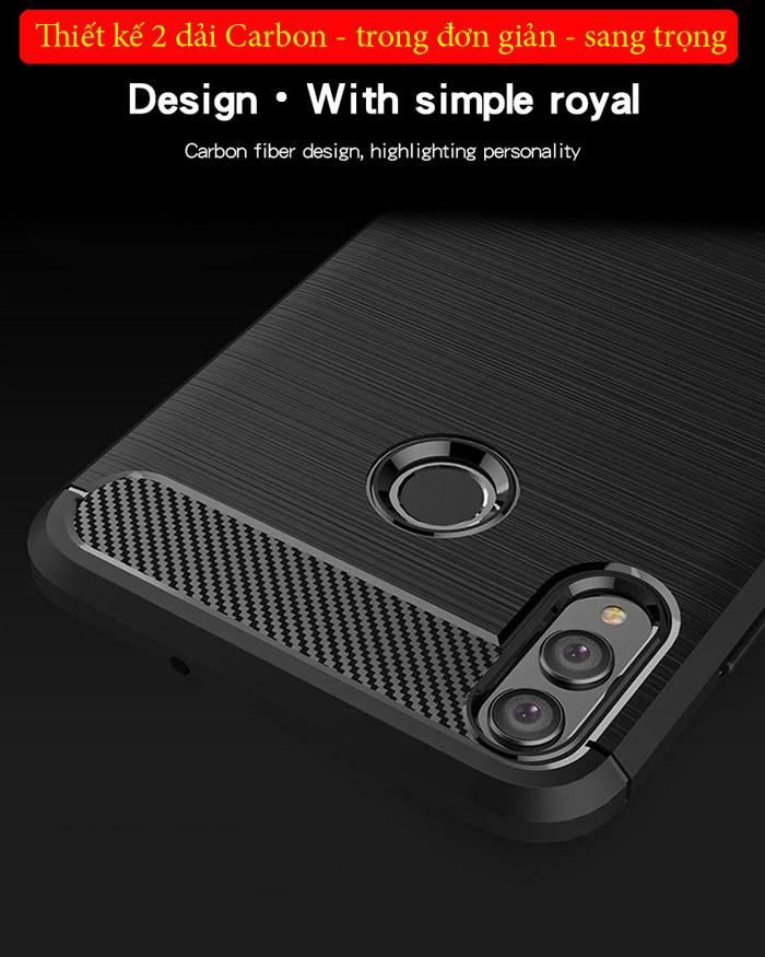 Ốp lưng Honor 8X Mofi Carbon Fiber nhựa mềm - chống vân tay 1