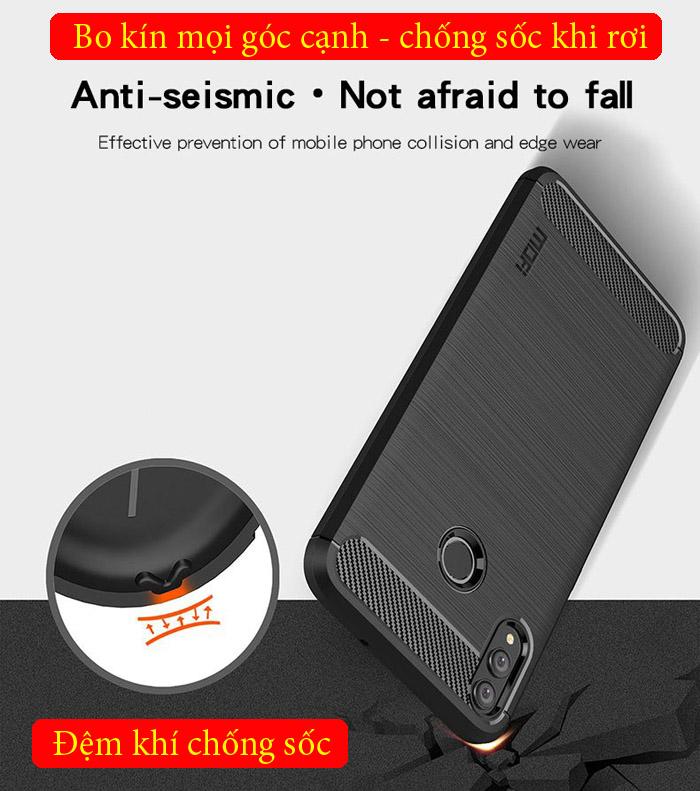 Ốp lưng Honor 8X Mofi Carbon Fiber nhựa mềm - chống vân tay 3