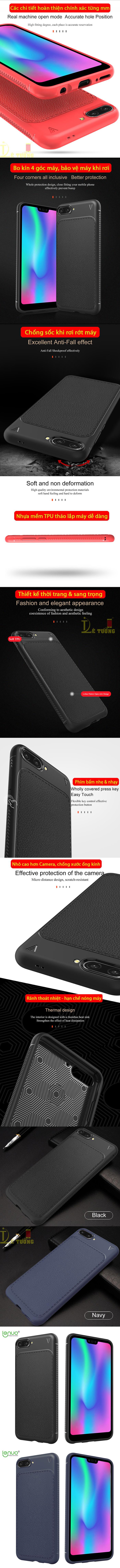 Ốp lưng Huawei Honor 10 Leshen Serie vân da sang trọng - chống vân tay 1