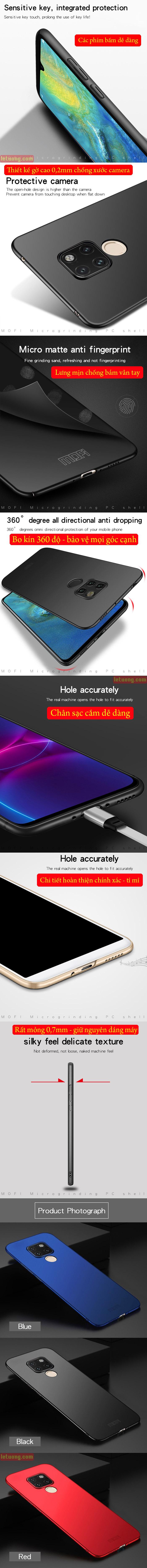 Ốp lưng Huawei Mate 20 Mofi Fitted Case 360 siêu mỏng, lưng mịn 4