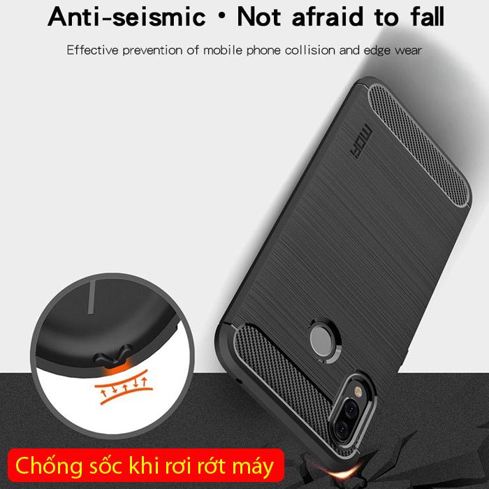 Ốp lưng Huawei Nova 3i Mofi Carbon Fiber nhựa mềm - chống sốc 3
