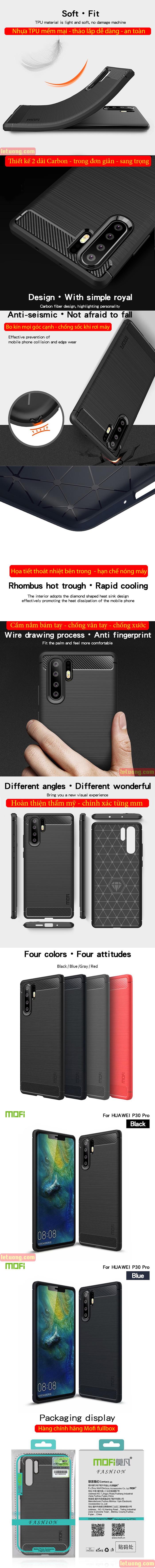 Ốp lưng Huawei P30 Pro Mofi Shen Du Rugged Carbon nhựa mềm - chống vân tay 6