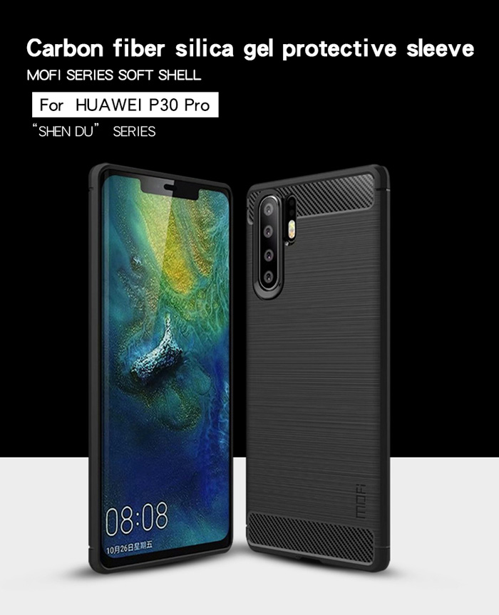 Ốp lưng Huawei P30 Pro Mofi Shen Du Rugged Carbon nhựa mềm - chống vân tay 5