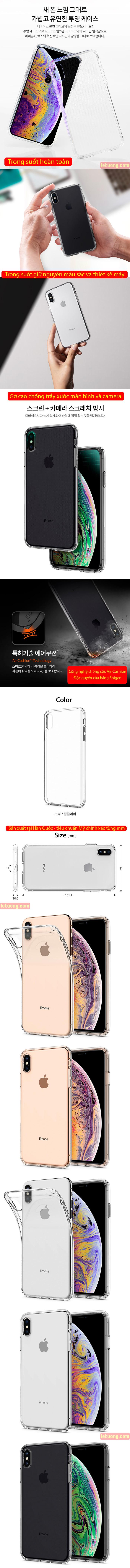 Ốp lưng iPhone Xs Max Spigen Liquid Crystal trong suốt ( Hàng USA ) 4