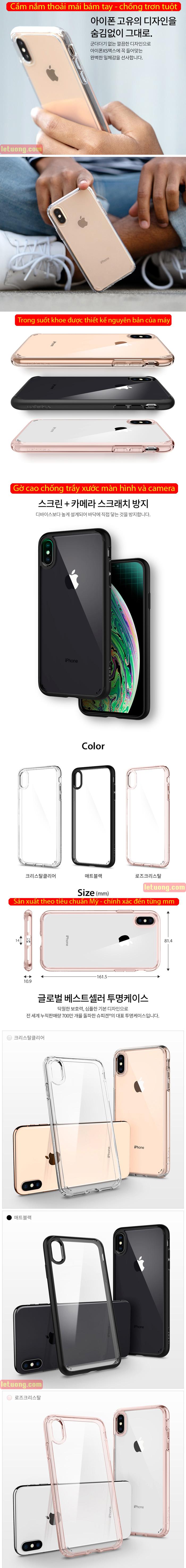 Ốp lưng iPhone Xs Max Spigen Ultra Hybrid trong suốt ( Hàng USA ) 5
