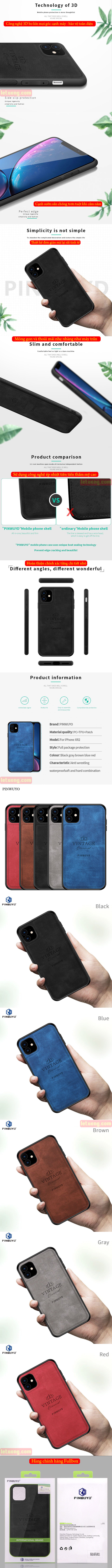 Ốp lưng iPhone 11 Pinwuyo Honorable Series lưng da PU 5
