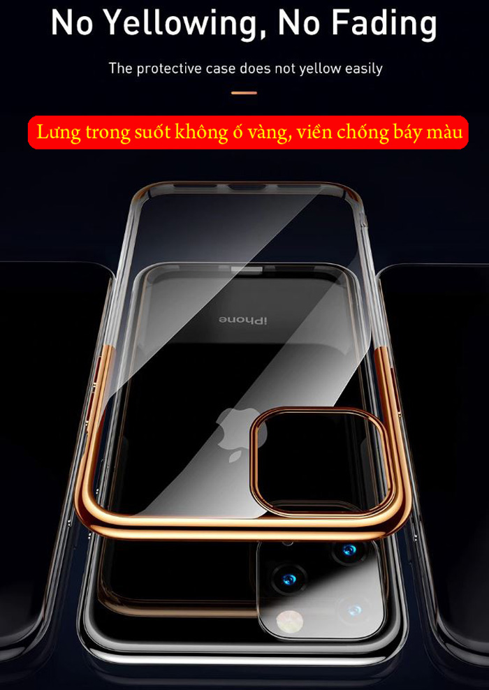 Ốp lưng iPhone 11 Pro Baseus Glitter trong suốt + viền mạ Crom 1