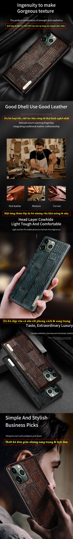 Ốp lưng iPhone 11 Pro Max Langsidi Leather Retro da thật vân cá sấu 2