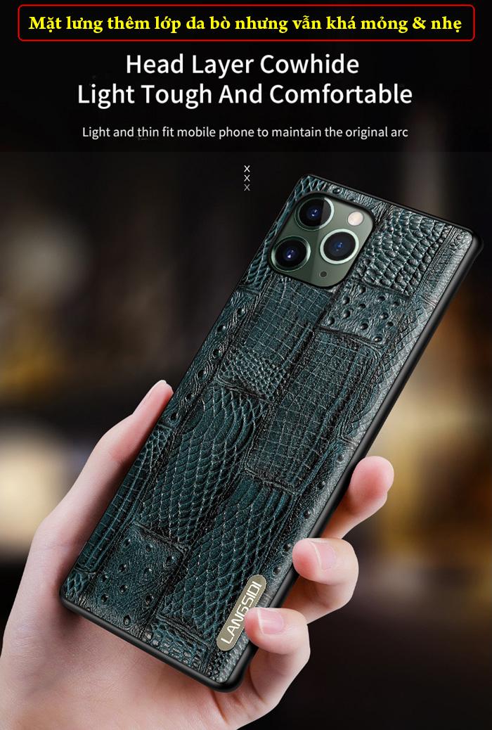 Ốp lưng iPhone 11 Pro Max Langsidi Leather Retro da thật vân cá sấu 7