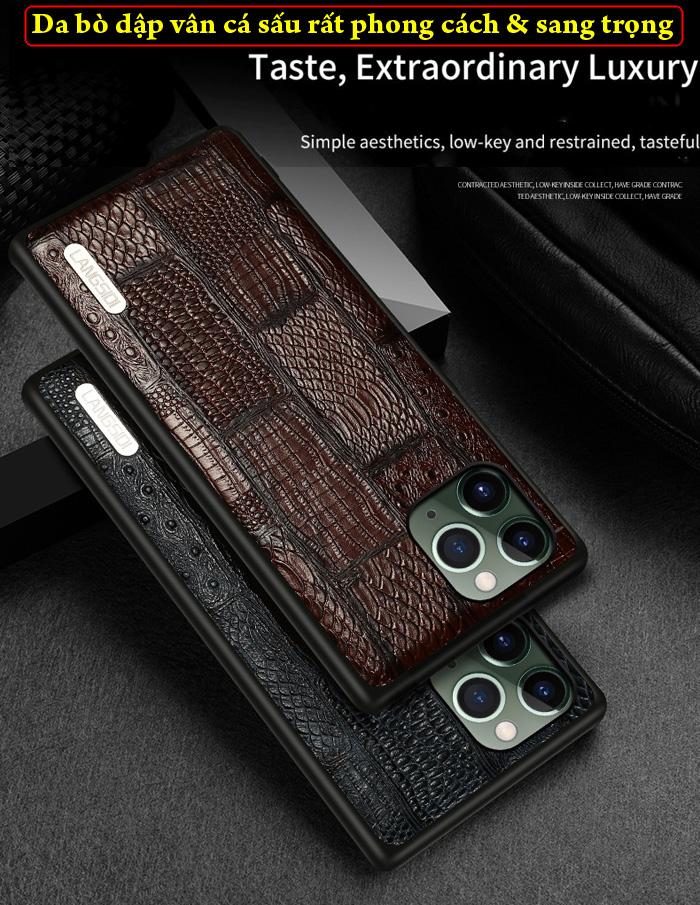 Ốp lưng iPhone 11 Pro Max Langsidi Leather Retro da thật vân cá sấu 1
