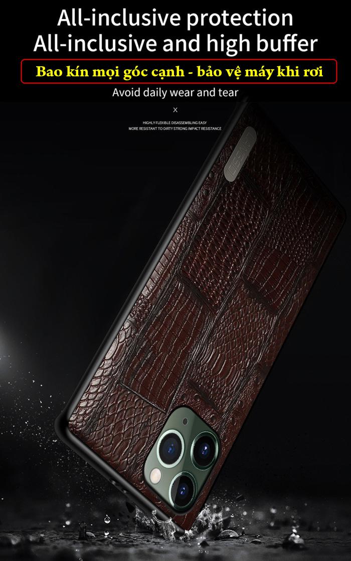 Ốp lưng iPhone 11 Pro Max Langsidi Leather Retro da thật vân cá sấu 4