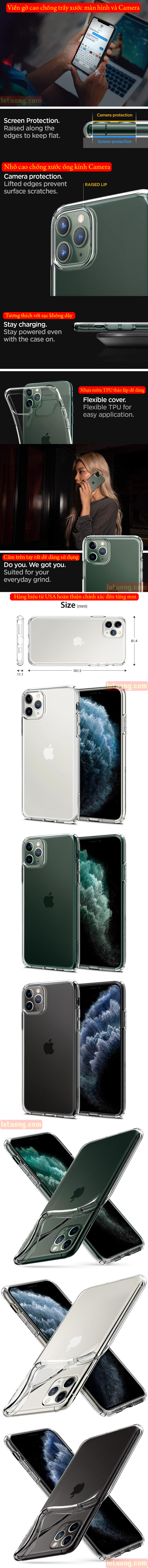 Ốp lưng iPhone 11 Pro Max Spigen Liquid Crystal nhựa mềm trong suốt ( USA ) 2