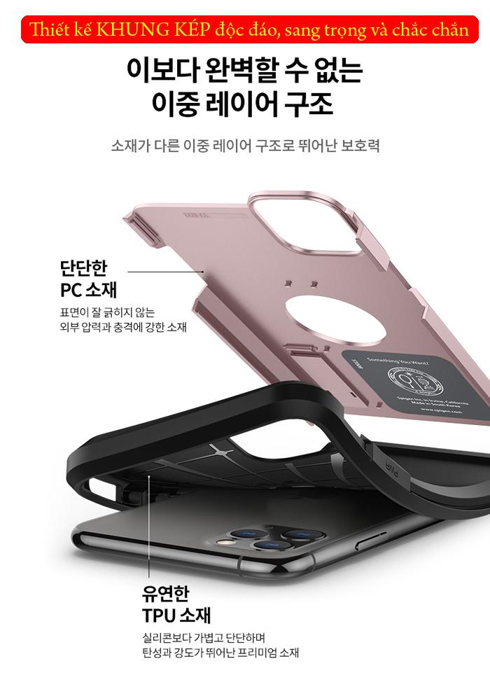 + Nổi bật nhất của chiếc ốp lưng này là khả năng chống sốc, chống va đập tuyệt hảo. Với ốp lưng iPhone 11 Pro Max Tough Armor bạn có thể hoàn toàn yên tâm kể cả khi máy có va chạm mạnh thậm chí rơi rớt.  Thiết kế 2 lớp bảo vệ: