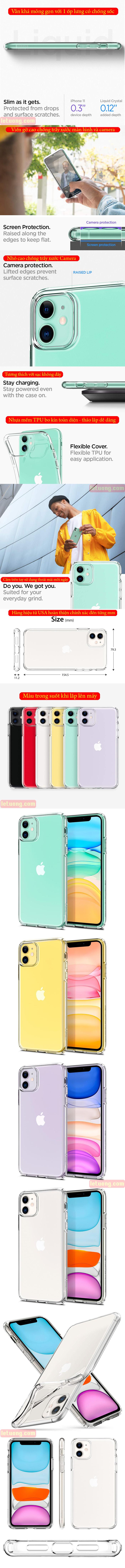 Ốp lưng iPhone 11 Spigen Liquid Crystal nhựa mềm trong suốt ( USA ) 4