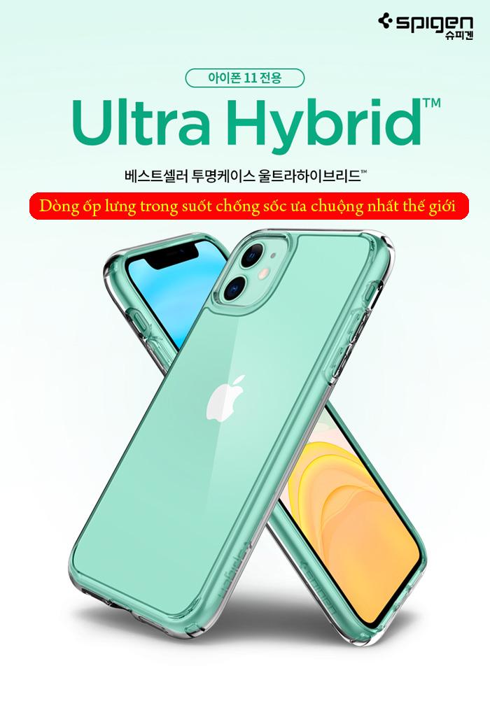 Ốp lưng iPhone 11 Spigen Ultra Hybrid trong suốt chống sốc ( hàng USA ) 1