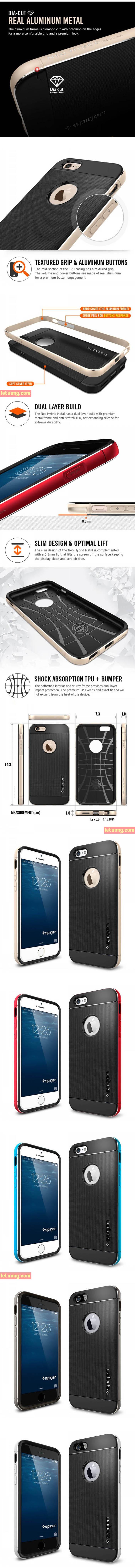 Ốp lưng Iphone 6 Plus/6S Plus Spigen Neo Hybrid Metal từ USA 4