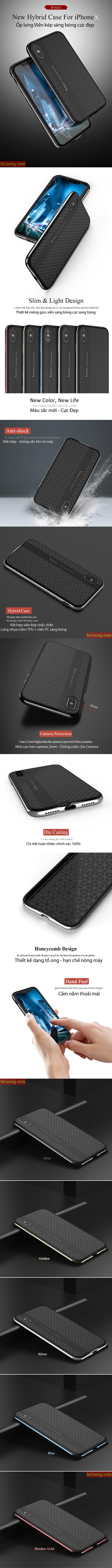 Ốp lưng Iphone X ( iphone 10 ) Ipaky Neo Hybrid viền kép sáng bóng 3